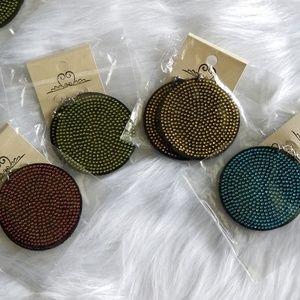 🆕️ Fun Boho Crystal Studded Felt Disc Earrings